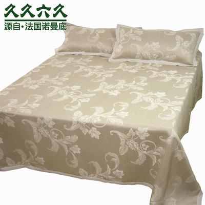 久久六久正品 36支锦缎织法 100%纯亚麻凉席三件套湿纺2米床用