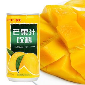 韩国进口食品 乐天芒果汁饮料180ml 罐装 夏季果汁饮品休闲特产品