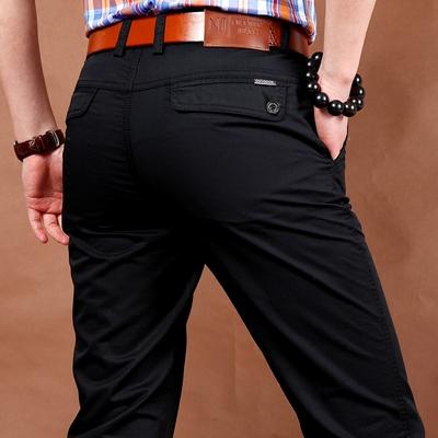 夏季薄款黑色男裤吉普盾休闲裤男士纯棉宽松商务西裤直筒长裤子潮