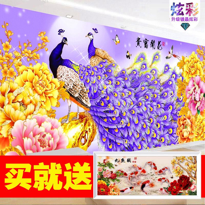 凤凰花开富贵钻石画客厅