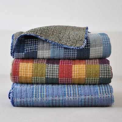 床上用品全棉米粒绣绗缝被纯棉格子夏凉被空调被盖被 薄被床盖