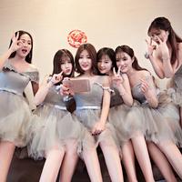 伴娘服短款2018春季新款韩式修身显瘦伴娘团姐妹裙灰色宴会晚礼服
