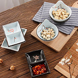 Japanese and Korean ceramic sauce vinegar snack seating dish retro cooking sushi dish hot pot flavoring dish seasoning dish two-grid tableware