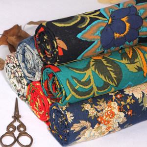棉麻布料服装面料波西米亚复古名族花布旗袍薄亚麻桌布民族风布料