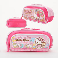 New KT Hello Kitty Child Primary and Secondary School Girls Large Capacity Multilayer Pencil Case Stationery Bag Cute Bow Pen Case