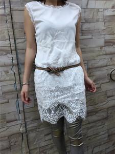 图片:Sallyangel女装新款韩版蕾丝拼接修身包臀打底背心中长款无袖T恤