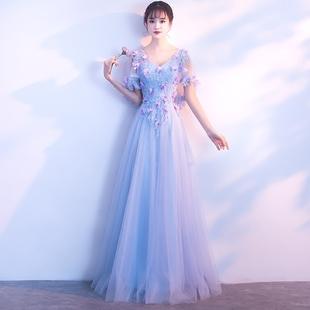 宴会晚礼服裙女2017新款高贵优雅端庄大气公司年会韩版伴娘服长款