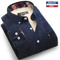 杰哈尼冬季加绒加厚保暖衬衫男长袖灯芯绒格子休闲韩版衬衣大码装