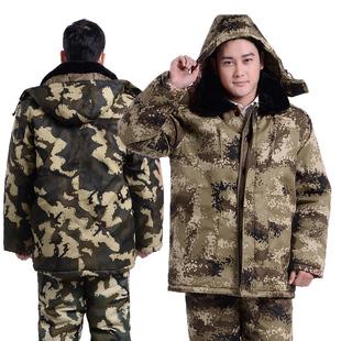 冬季棉服中年男士迷彩大衣带帽加厚中老年棉服外套加肥加大爸爸装