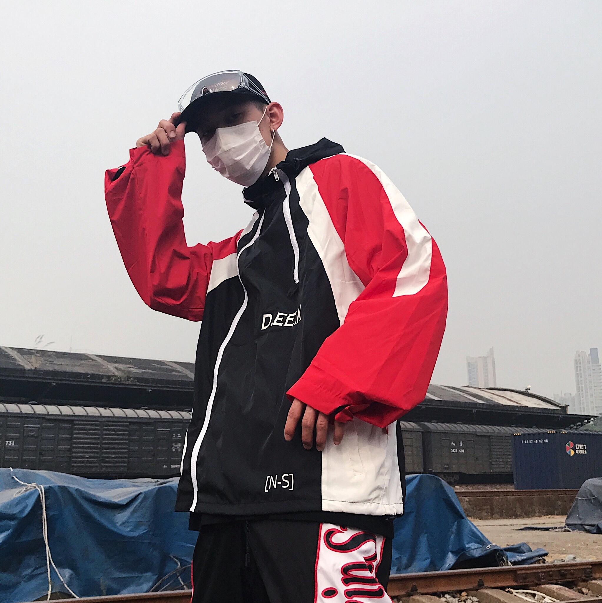 春秋季复古街头潮牌hiphop嘻哈冲锋衣男女INS超火的连帽风衣外套X