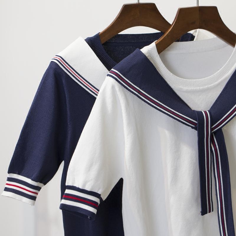 白色韩范高领针织衫