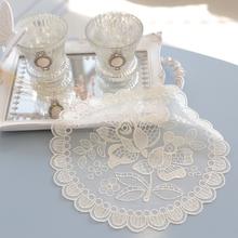韩国进口蕾丝装饰圆形餐垫  桌垫 精致台灯垫 茶几桌布蕾丝垫子