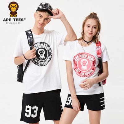 安逸猿APE潮牌2018夏装新款情侣装短袖t恤女圆领个性字母休闲运动
