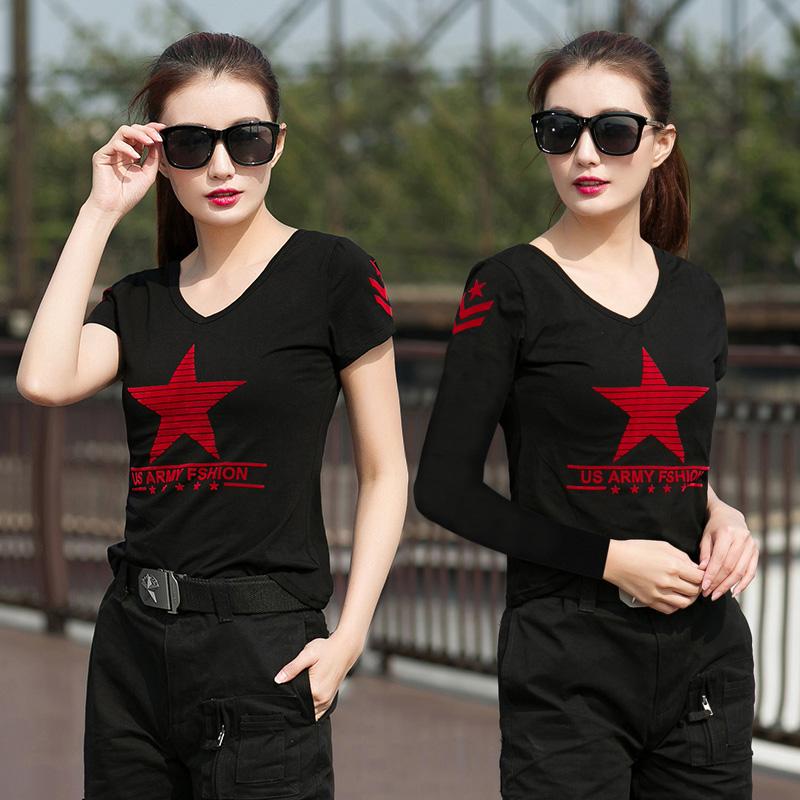 户外迷彩服五角星水兵舞服装黑色V领短袖T恤女舞蹈广场舞长袖上衣1元优惠券