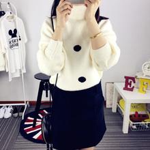 2015宽松短款长袖波点套头针织衫冬装加厚高领学院风毛衣韩版外套