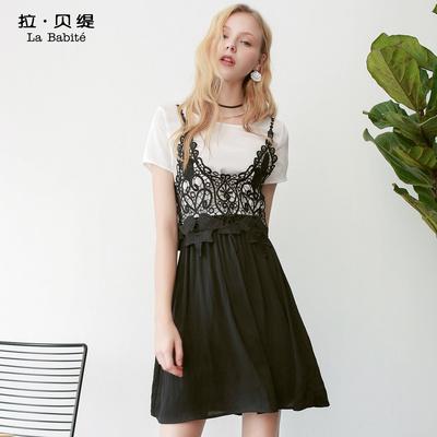拉贝缇夏装新款短袖蕾丝镂空黑色吊带长裙a字假两件连衣裙女