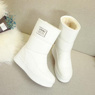 雪地靴女冬2018新款韩版短筒白棉鞋厚底短靴加绒加厚中筒棉靴子潮