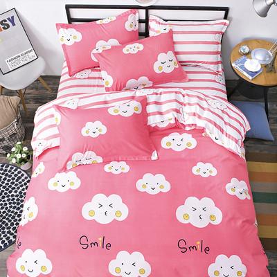 学生宿舍粉色四件套床上用品上下铺单人女1.2m床单被罩枕套三件套