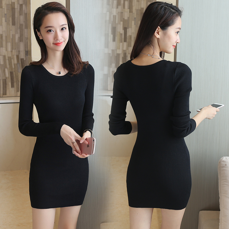 韩国针织长连衣裙