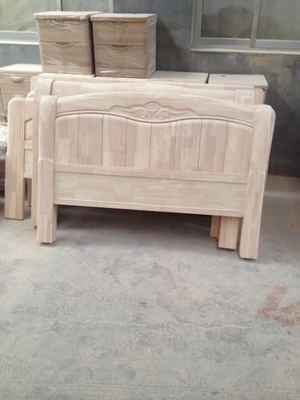 中式白茬橡胶木床头板水曲柳实木床 白胚实木床 双人 婚床 没喷漆