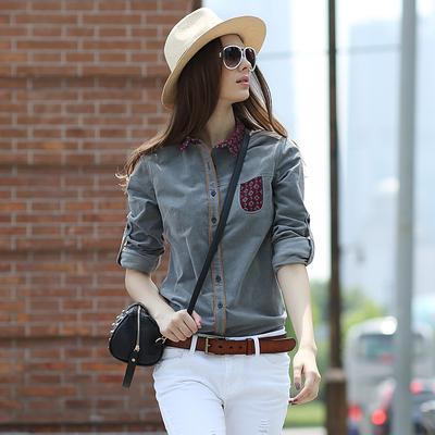 华伊格秋装灯芯绒衬衣欧美时尚撞色衬衣休闲修身复古长袖衬衫女潮