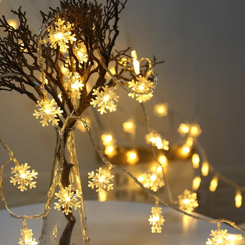 LED雪花小彩灯闪灯串灯满天星圣诞节树ins装饰房间布置网红星星灯