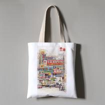 香港回归祖国20周年周边纪念品手绘风景插画帆布包手提购物袋定制