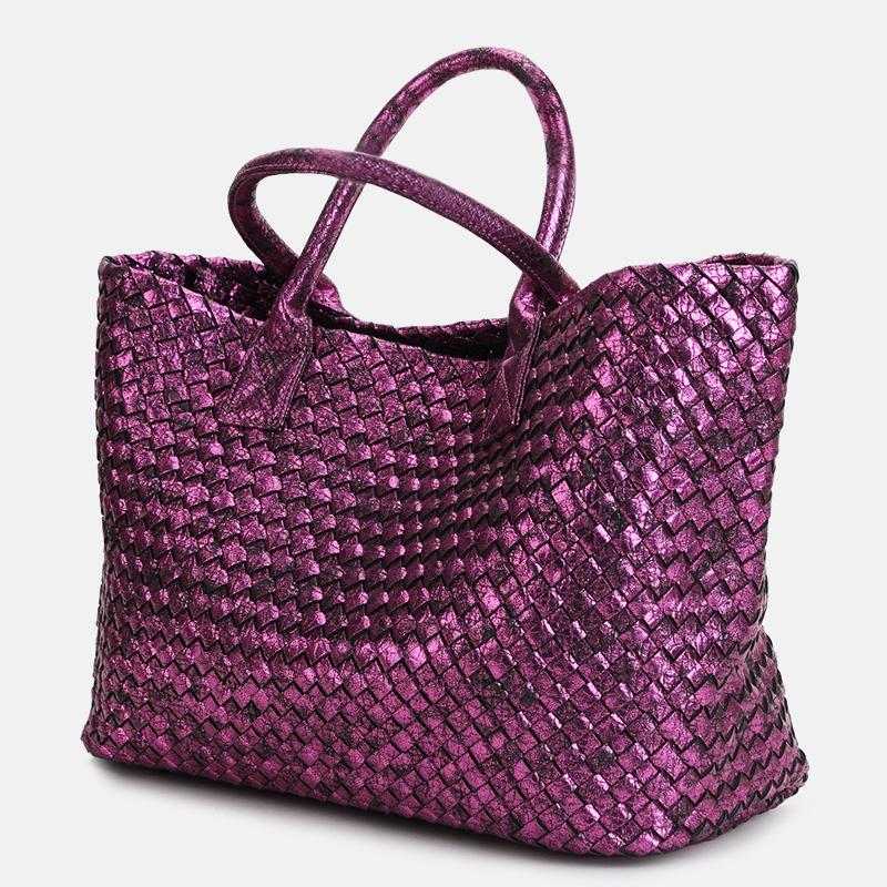 欧美编织纹手提包