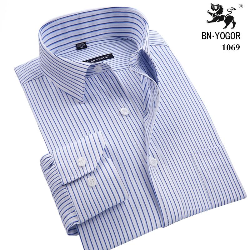 高长袖衬衫抗皱免烫工作正装薄款纯棉衬衣爸爸