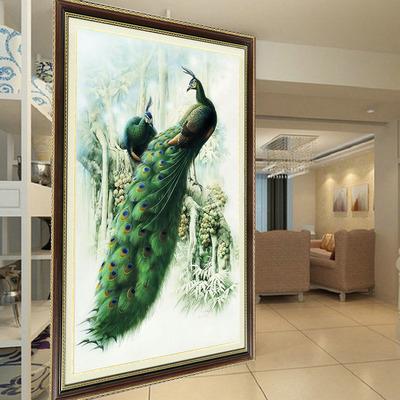 印花十字绣线绣孔雀新款客厅大幅竖版玄关绿光深林十字绣孔雀系列