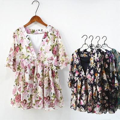 包邮2019夏季新款女装韩版时尚中袖V领搭吊带两件套碎花雪纺衫女