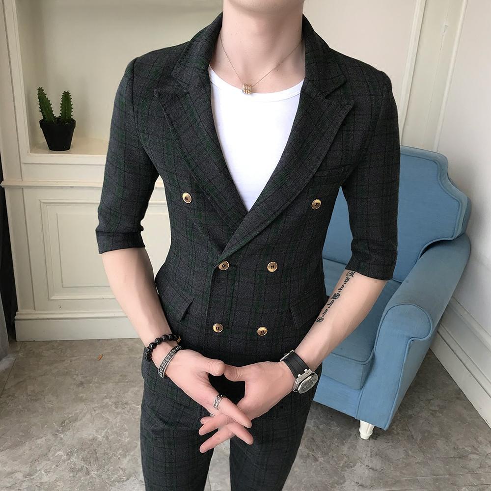 短袖双排扣西服套装男韩版修身免烫格子九分裤短袖西服上班两件套