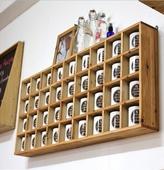 木格子置物架创意茶壶展示架简约墙上置物架壁挂格子木架书架定制