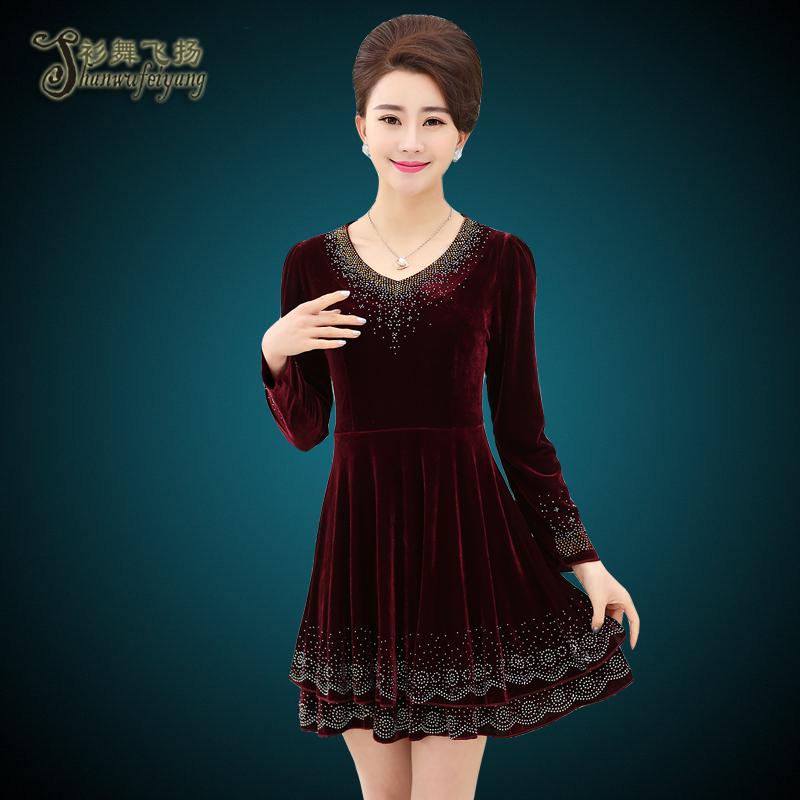 丝绒中年连衣裙