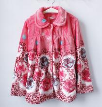 秋冬法兰绒珊瑚绒加厚保暖女睡衣上装家居休闲开衫睡衣上衣长袖