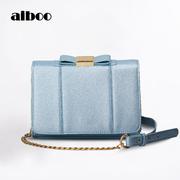 aiboo2017年夏季新款链条女小方包 韩版时尚潮女斜跨蝴蝶结小包包