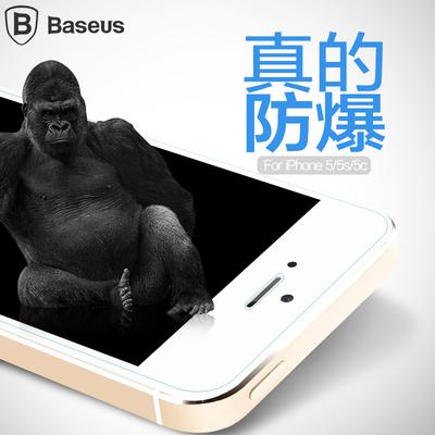 倍思 iPhone5S鋼化玻璃膜抗藍光蘋果5se鋼化膜5C防爆膜高清透貼膜