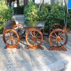 户外实木休闲桌椅碳化防腐木桌椅阳台酒吧餐桌椅套件桌组合咖啡椅