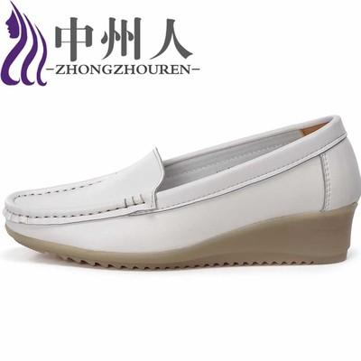 休闲白色护士鞋坡跟牛筋底女护士工作单鞋 美容师鞋妈妈鞋透气舒