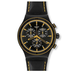 Swatch/正品男士简洁黑黄表盘真皮表带三眼计时时尚手腕表 YVB400