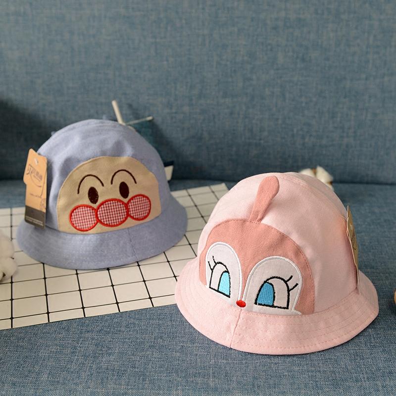 婴儿帽子春秋薄款0-2岁男童女宝宝可爱遮阳渔夫帽儿童卡通太阳帽