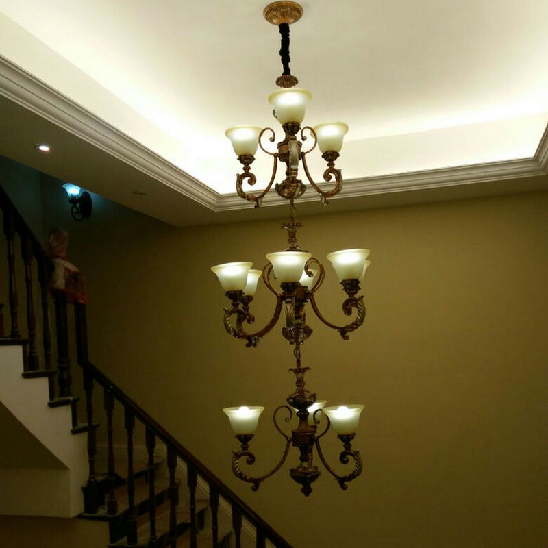 复式楼梯间长吊灯欧式 复古铁艺别墅旋转楼梯灯北欧美式楼梯吊灯