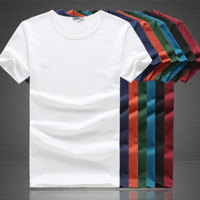 纯白短袖男士T恤纯棉夏季圆领打底衫 空白手绘纯色韩版修身纯黑色