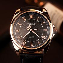 圆形表盘合金橙灯电石英表运动登山表时尚风三眼男士手表多功能