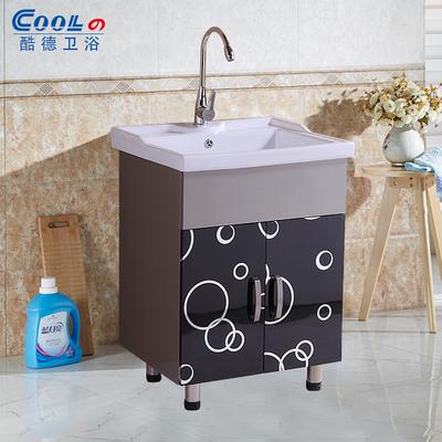酷德卫浴超深不锈钢浴室柜阳台洗衣柜高温陶瓷洗衣池洗衣柜洗衣槽