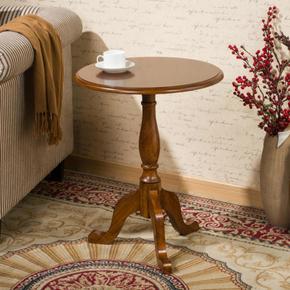 实木小圆桌美式沙发边桌欧式简约圆茶几小茶几边几角几咖啡电话桌