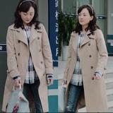 美好生活小白牛莉同款韩版卡其色风衣外套2018春装中长款系带大衣