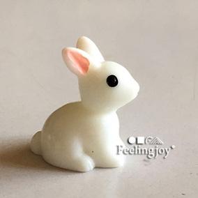6分bjd娃娃可用1:12迷你娃娃屋微缩场景配件动物模型 仿真花园兔
