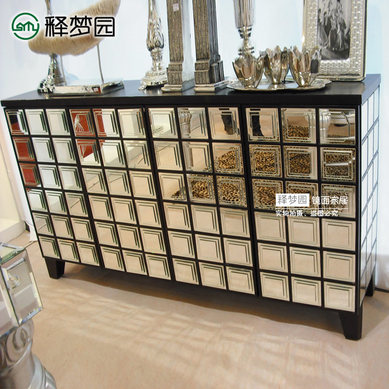 欧式玻璃镜面鞋柜
