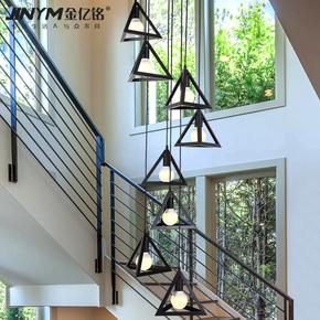 复式楼梯吊灯工业风铁艺北欧创意个性旋转跃层客厅loft楼梯长吊灯